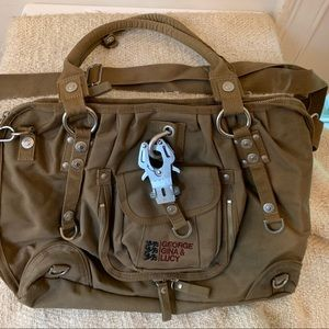 GEORGE GINA & LUCY bag Sexy Strappy olive purse